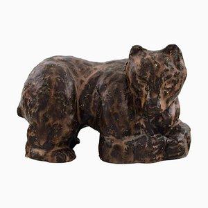 Skandinavische Keramikfigur eines Braunen Bären aus glasiertem Steingut