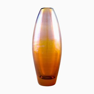 Vase in Metallic Amber-Colored Mouth-Blown Art Glass by Lena Bergström for Orrefors
