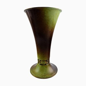 Ystad Brons Art Deco Vase in Patinated Bronze, 1940s