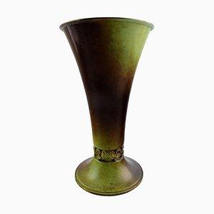Ystad Brons Art Deco Vase in Patinated Bronze, 1940s
