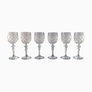 Red Wine Glasses in Crystal, 20th Century, Set of 6