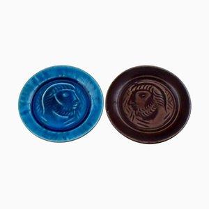 Royal Copenhagen Jais Nielsen Ceramic Plaques in Blue and Oxblood Glaze, 1930s, Set of 2