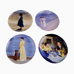 B & G Teller mit Motiven von den Skagen Artisten, 1980er, 8er Set