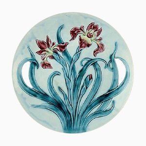 Gustavsberg Art Nouveau Earthenware Dish Decorated with Flowers