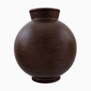 Aluminia Copenhagen Art Deco Faience Vase in Brown Glaze, 1940s
