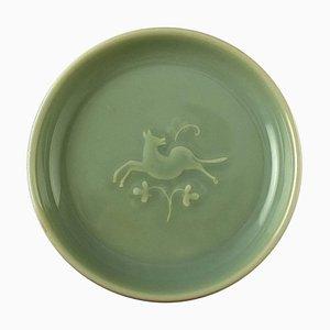 Royal Copenhagen Steingut Schale mit Celadon Glasur und niedrigem Relief aus Rehwild