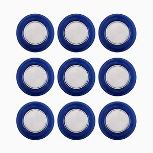 Swedish Art Glass Plates, 20th Century, Set of 9