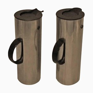 Stelton Thermal Coffee Pots in Stainless Steel by Erik Magnussen, 20th Century, Set of 2