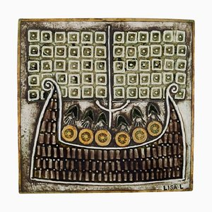 Glazed Ceramic Wall Plaque Decorated with Vikings by Lisa Larson for Gustavsberg, 1970s