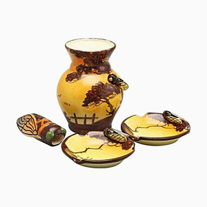 Vallauris Vase, Ashtrays & a Holder Formed as an Insect from Massier