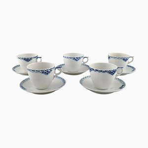 Blue Painted Coffee Cup with Saucer in Porcelain from Royal Copenhagen, 1970s, Set of 10