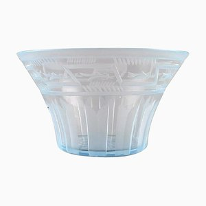 Art Deco Bowl in Satin-Cut Light Blue Art Glass by Simon Gate for Orrefors, 1929