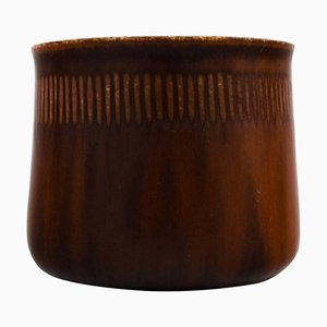 Stoneware Vase in Modern Design Glaze in Brown Shades from Saxbo, 20th Century