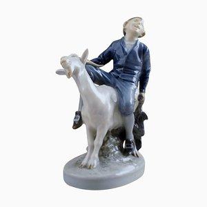 Hans Clodhopper Boy on Goat Figurine from Royal Copenhagen, 1959