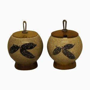 Art Deco Craquelé Vasen mit Deckel aus Holz und Silber von Bing & Grondahl, 20th Century, 2er Set
