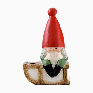 Elf on a Sledge in Glazed Stoneware Candleholder by Lisa Larson for Gustavsberg, Late 20th Century