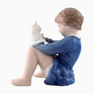 Girl with Cat Figure Decoration Number 4631 from Royal Copenhagen, 1960s