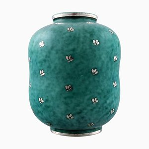 Art Deco Argenta Ceramic Vase Decorated with Leaves by Wilhelm Kåge for Gustavsberg, 1940s
