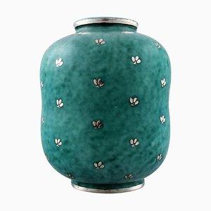 Vase Argenta Art Deco en Céramique Décoré de Feuilles par Wilhelm Kåge pour Gustavsberg, 1940s