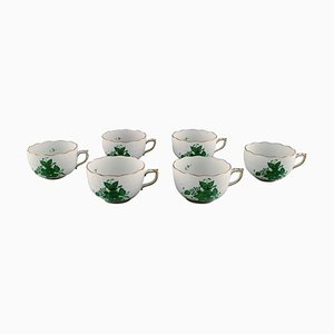 Chinese Bouquet Teacups with Gold Decoration and Green Flowers, Set of 6