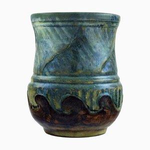 Antike dänische Jugendstil Vase aus glasierter Keramik von Moller & Bøgely