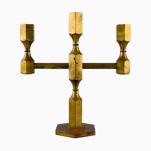 Swedish Gusum Metal 3-Light Candleholder in Brass, 1960s
