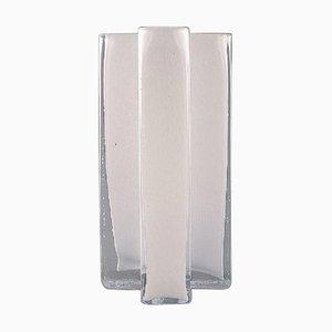Swedish Cross Vases in White Art Glass by Bodil Kjaer for Gullaskruf, 1960s