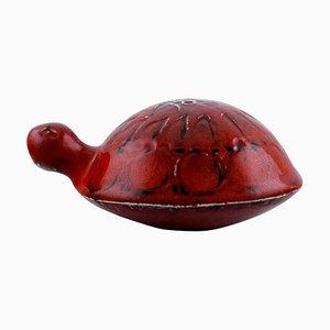 Glasierte und handbemalte Schildkröte aus Steingut von Lisa Larson für Gustavsberg, 20. Jahrhundert