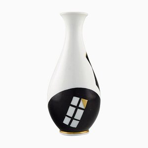 Concretistic Vase in Hand Painted Black and Gold Porcelain from Hackefors, 1960s