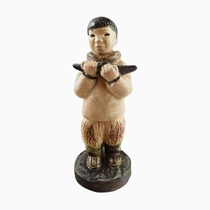 Danish Eskimo Boy with Kayak in His Hands Figurine by Arne Ingdam, 1960s
