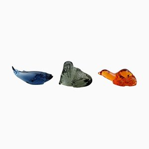 Art Glass Blue Whale, Walrus, and Seal Figures by Paul Hoff for Svenskt Glass, 1980s, Set of 3