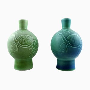 Antique Art Deco Craquele Porcelain Vases from B&G, Bing & Grondahl, Set of 2