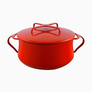 Red Enamel Pot with Lid and White Inside by Jens H. Quistgaard, 1960s