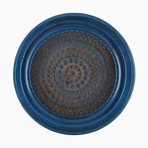 Glazed Stoneware Geometric Pattern Dish by Mari Simmulson for Upsala-Ekeby, 1960s