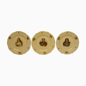 Vintage Faux Meissen Plates with Portraits of French Royalties, Set of 3