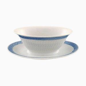 Vintage Blue Fan Porcelain Oval Sauce Boat on Base from Royal Copenhagen, Set of 2