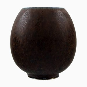 Small Brown Shades Glaze Ceramic Vase by Saxbo