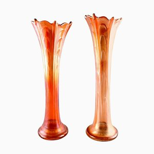 Mid-Century American Pressure Glass Vases, Set of 2