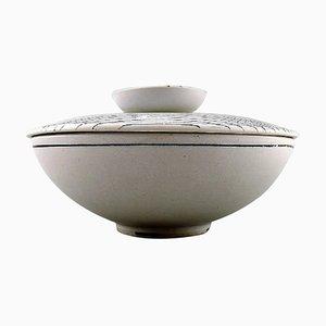 Filigrane Keramik Schale mit Deckel von Stig Lindberg für Gustavsberg, 1960er