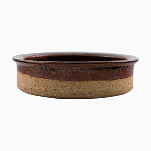 Brown Shaded Raw and Glazed Stoneware Low Bowl from Helle Alpass, 1960s