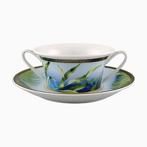 Jungle Porcelain Bouillon Cup and Saucer by Gianni Versace for Rosenthal, Late 20th Century, Set of 2