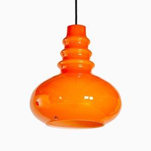 Orange Glass Pendant Lamp from Peill & Putzler, 1970s