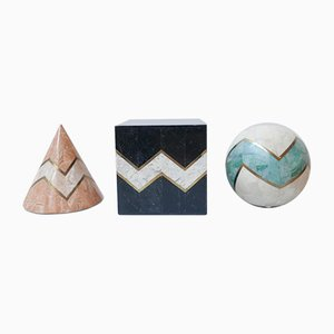 Geometric Tessellated Marble Objects Attributed to Maitland-Smith, 1980s, Set of 3