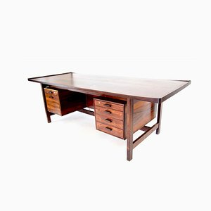 Danish Rosewood Presidential Executive Desk with Floating Top from Sigurd Hansen, 1960s