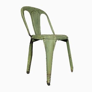 Belgian Art Deco Green French Metal Cafe Chair from Fibrocit