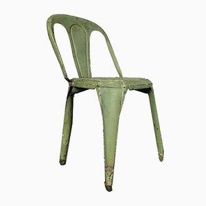 Belgischer Art Deco Grüner Metall Cafe Chair von Fibrocit