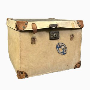 Mid-Century Rustic Leather Steamer Trunk