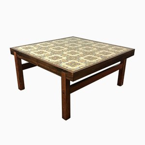 Mid-Century Danish Rosewood & Tile Top Coffee Table