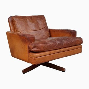 Mid-Century Norwegian Rosewood & Leather Armchair by Fredrik Kayser for Vatne Mobler