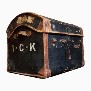 Grand Coffre de Voyage Rustique Vintage en Cuir